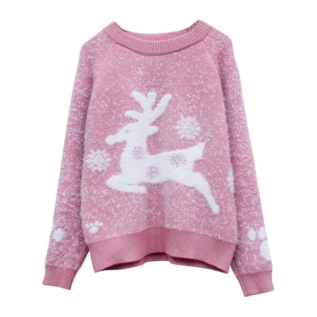 Eoeth Christmas Deer Print Sweaters for Women,Ladies Christmas Long Sleeve Tops Knitwear Blouse Shirt Sweatshirt Pullover Pink by Eoeth