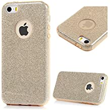 iPhone SE Case,iPhone 5S Case,iPhone 5 Case - 3 in 1 Protective Slim Fit Shock-absorption Soft TPU Rubber Outer Case + Shiny Sparkling PVC Powder Piece + Ultra-thin PC Inner Cover by Badalink - Golden
