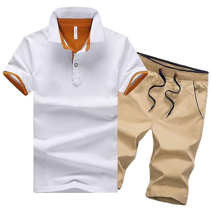 87db17ab11ae2 Hombre Casual Deportivas Tracksuit 2 Manga Corta Conjunto De Ropa Camiseta  Y Pantalones Cortos Blanco1 S  Amazon.es  Ropa y accesorios