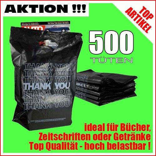 500 sacs en plastique Sacs /à provisions Sacs de transport avec poign/ée noir avec blanc surcharge Thank You traget/üten 45x34cm Stabil