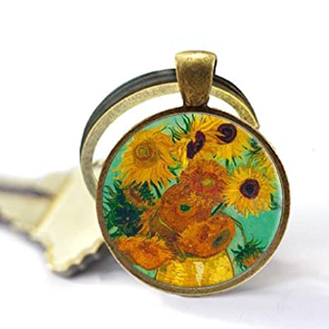 Vincent Van Gogh Sunflower Art Jewelry, Collar de cristal ...