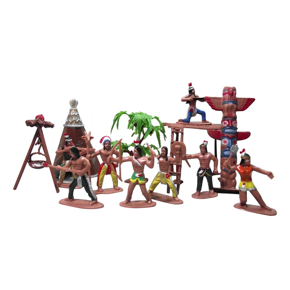 YeahiBaby Figuras de plástico de Juguete de Hombre Indio Modelo Hombres Figuras Accesorios Juego de Juego para niños 13pcs