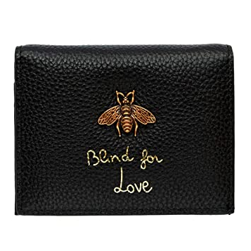 H-M-STUDIO Billetero Mujer Par Mini Simple Abeja Cartera De Cuero Corto, A, Negro: Amazon.es: Equipaje