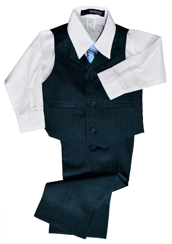 G280 Pinstripe Boys Formal Dresswear Vest Set (X-Large/18-24 Months, Charcoal/Teal)
