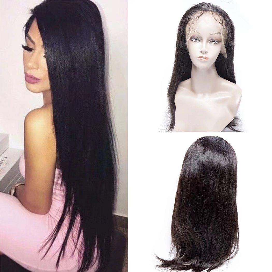 Maxine 8A 100% non transformés Cheveux Vierges Perruque lace front brésilienne Remy Cheveux humains Dentelle des Perruques de cheveux raides avec des cheveux de bébé pour Afro-américains Densité de 130% Couleur naturelle Guangxun Company