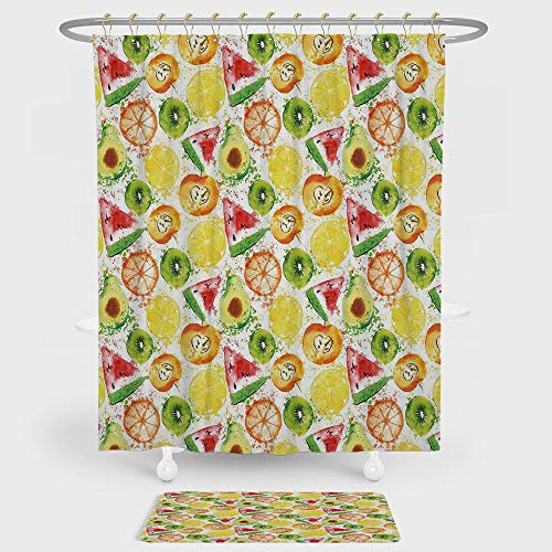 iPrint Fruits Shower Curtain And Floor Mat Combination Set Paintbrush Mixed Plants Seed Splash Watermelon Peach Avocado Design For decoration and daily use Yellow Orange Fern ()