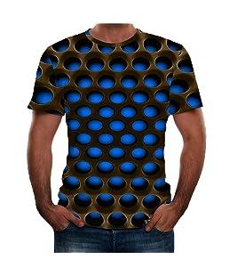 OGGI-T-shirt Maglietta da Uomo Stampate 3D T-Shirt Moda personalità Manica Corta Casuale Sportivo Tee Comodo Bodybuilding Polo Estate Traspiranti Cappotto Girocollo Camicia