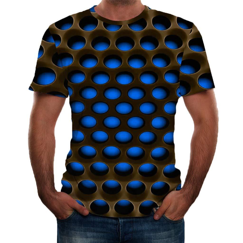 Sharemen Men's Summer 3D Printed Short Sleeves Fashion Comfort Blouse Top(Blue,2XL)