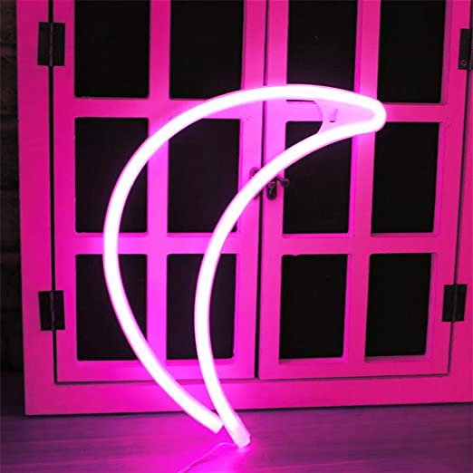xiyunte led moon neon light signs pink neon light up signs room