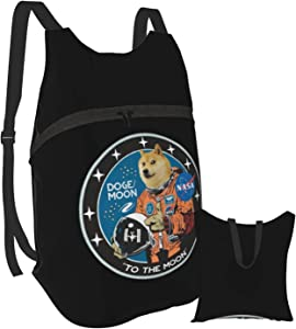 Dogecoin Doge HODL To the Moon Laptop Backpack Portable Folding Durable Hiking Sports Shopping School Bag