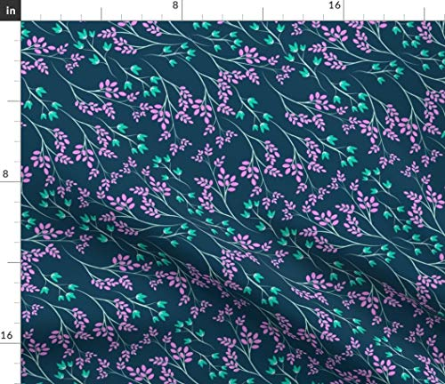 Dark Floral Print Fabric - Floral Flowers Botanicals Garden Print Floral Print Flowers Leaves Botanicals Plants by Lapetitelecour Printed on Minky Fabric by The Yard