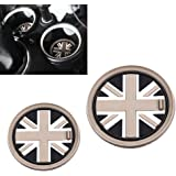 iJDMTOY (2) 73mm Black Union Jack UK Flag Style Soft Silicone Cup Holder Coasters For MINI Cooper R55 R56 R57 R58 R59 Front Cup Holders