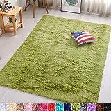 PAGISOFE Green Fluffy Shag Area Rugs for Bedroom