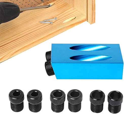 6//8//10mm Adapter Kit Angle Drill Guide Woodworking Tool DIY Pocket Hole Jig