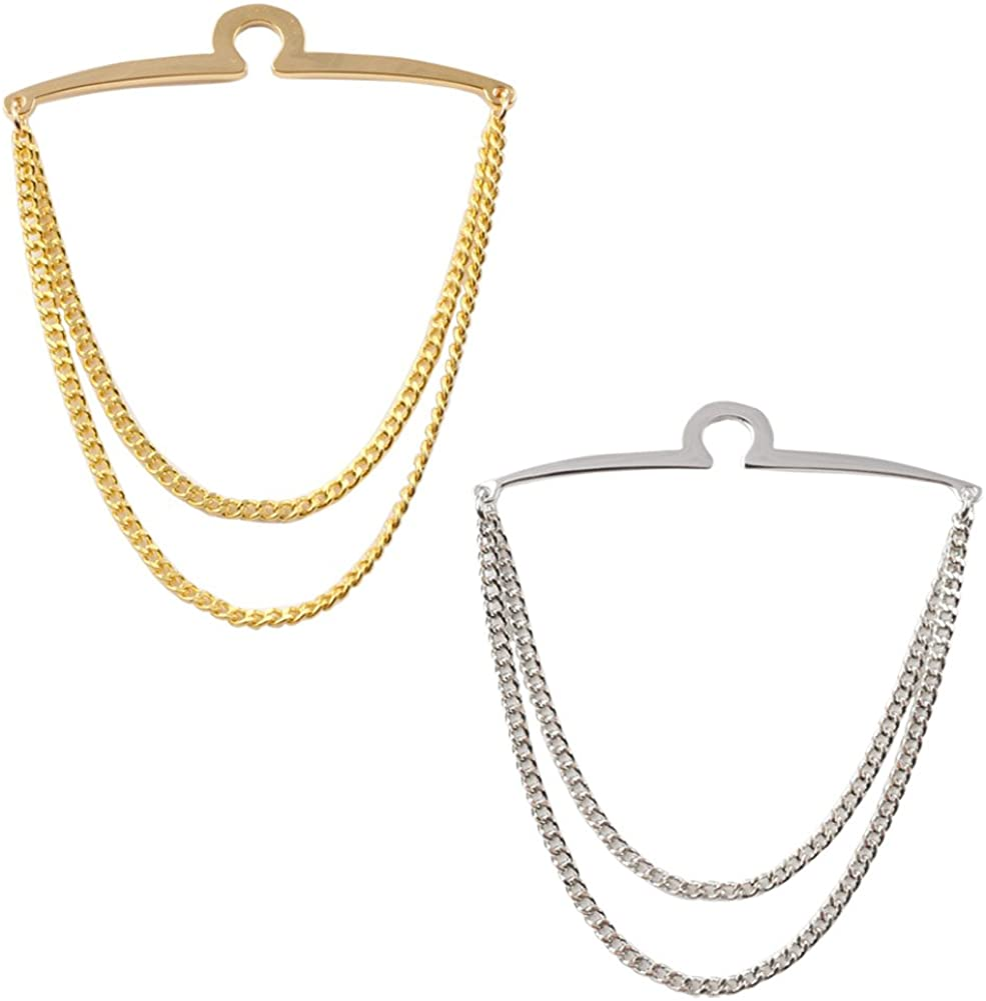 Dannyshi Men's Silver Golden Tie Chain Set, Gift Boxed