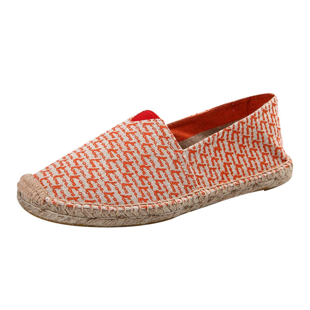 Women's Men's Casual Espadrilles Loafers Flats Shoes 2019 New Breathable Slip-on Canvas Sneaker (US:6, Red)