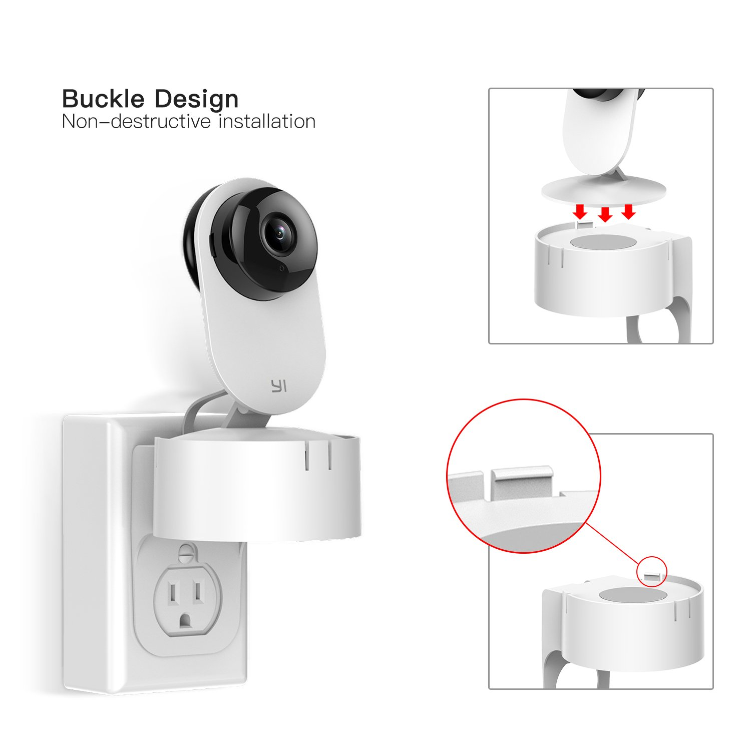 Yi Home Camera Ac Outlet Wall Mount 360 Degree Swivel Electric Plug Wiring