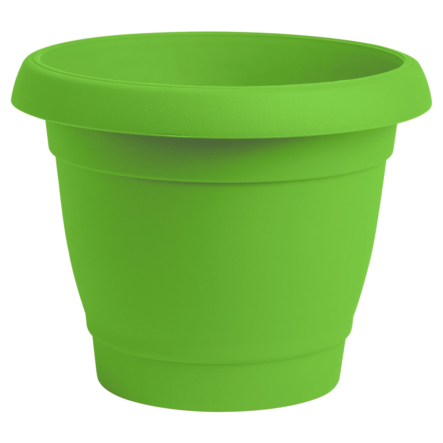 ALMI Carmel Round Planter 9 Inch, Plastic Rounded Pot For Garden, Elegant Shaped Flower Tree, Tapered Planters For Plants, Small Trees, UV Resistant Paint, Indoor & Outdoor, Light Green