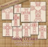 6 by 10 embroidery machine - Fancy Crosses Redwork Embroidery Machine Designs on CD - 10 Outline Style Designs - 5 Sizes Each - ART PES JEF EXP VIP HUS DST VP3