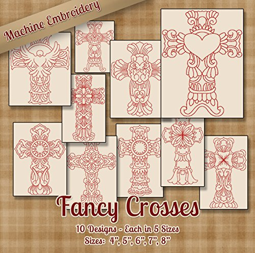 Fancy Crosses Redwork Embroidery Machine Designs on CD - 10 Outline Style Designs - 5 Sizes Each - ART PES JEF EXP VIP HUS DST VP3