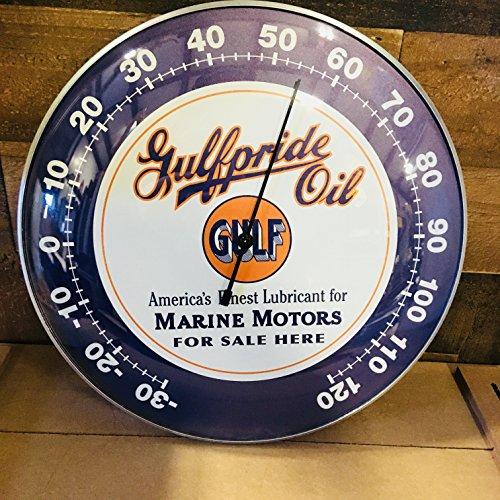 "(GULF Gulfpride Oil Marine Motors THERMOMETER 12"" Round Glass Dome Sign - Brand New - Vintage Style)"