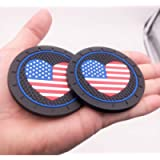 2pcs Good-Looking Heart-Shaped American Flag Badge Cup Holder Coasters Car Accessories, Fit Jeep BMW Toyota Mercedes…