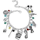 dyudyrujdtry Stranger Cosas Tema Colección 10 Logo Charms Langosta Cierre Joyería Brazalete para Cumpleaños, Día de San Valentín, Aniversario