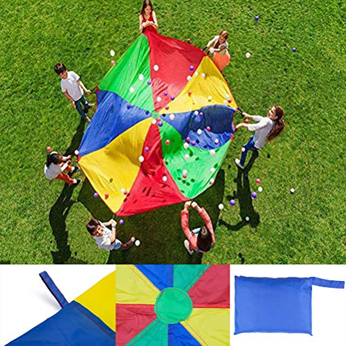 Tebery Play Parachute 12 Foot for Kids Multicolored Parachute with Handles for Tent Cooperative Games