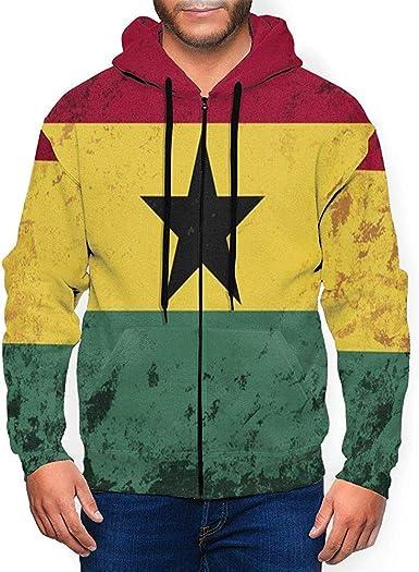Ralapmill Sudadera con Capucha Retro Grunge Ghana Flag Pullover Sudadera para Hombre Camisa con Capucha con Cremallera Completa L: Amazon.es: Ropa y accesorios