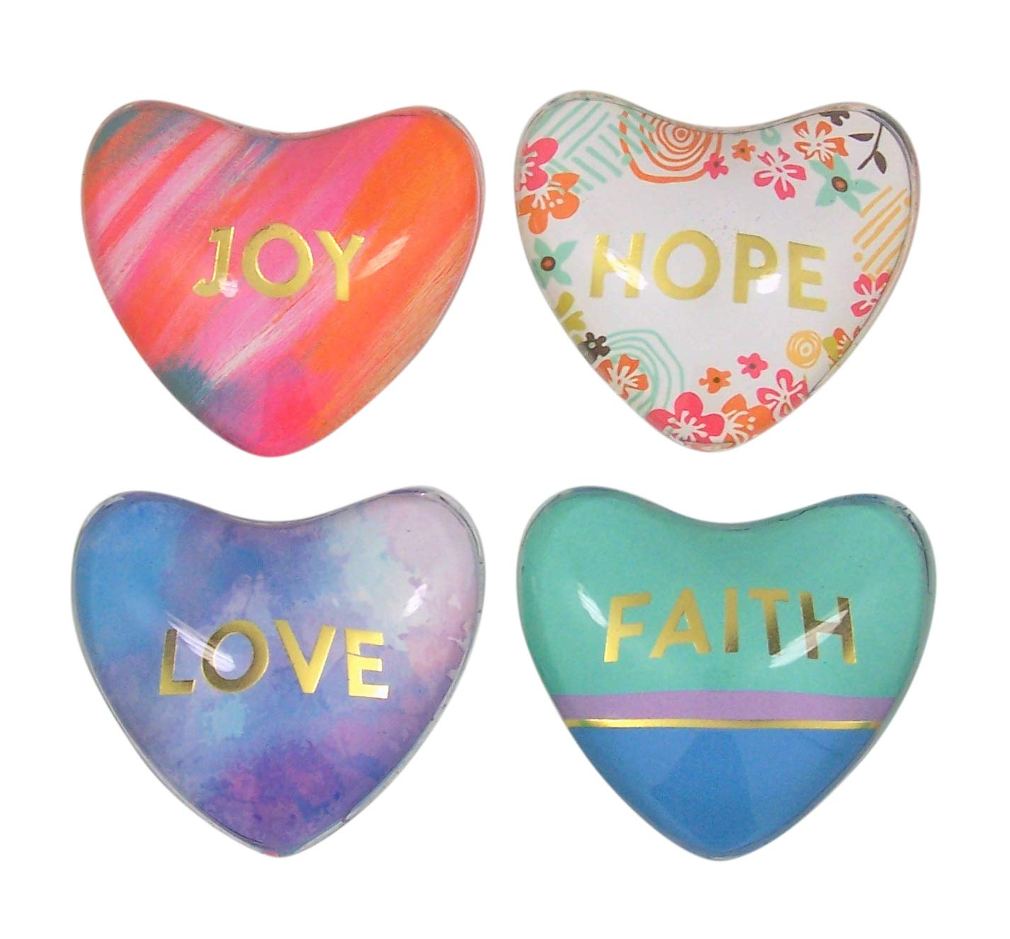Set of 4 Faith Hope Love Joy Magnanimous Heart Inspirational Refrigerator Magnets