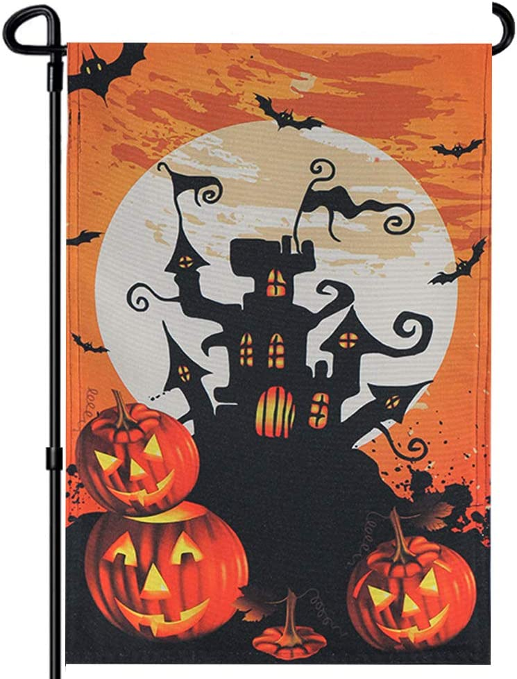 FRF Halloween Garden Flag Bat Castle Pumpkin Flags - Spooky Double Sided 12 X 18.5 Inches - Witch Ghost Yard Halloween Party Outdoor Decor