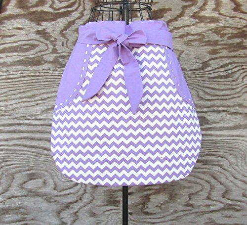 Valentine Apron Personalized (Purple Half Apron with Pockets and long ties, Personalized)