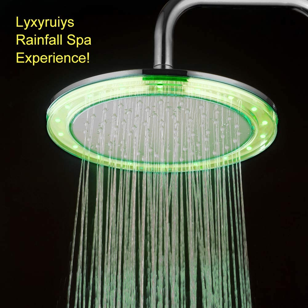 Top ABS Rain Shower Head Color-Changing Automatically Every Few Seconds Cixi Kairey Sanitary Ware Factory KAIREY 10 Rainfall Shower Head