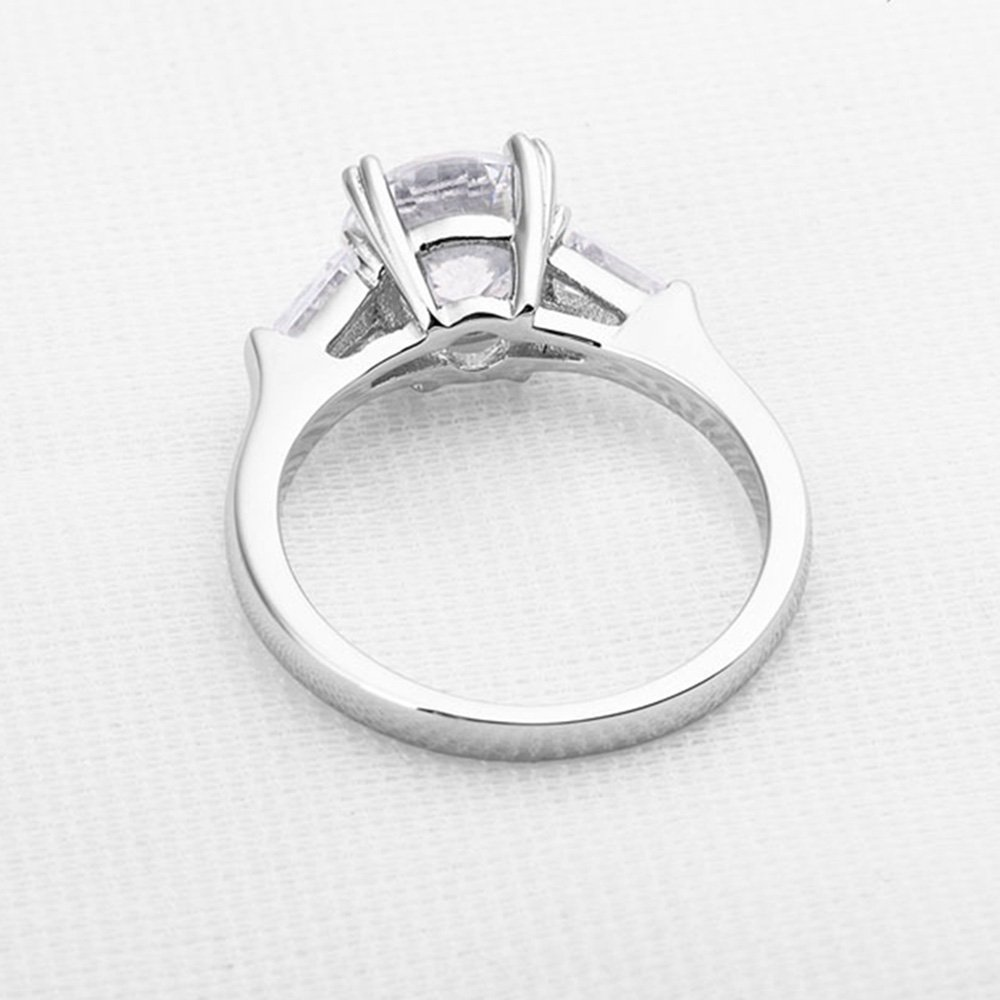 espere Sterling Silver 2 Carat CZ Baguette Round Solitaire Engagement Ring Bridal Wedding Jewelry by espere (Image #7)