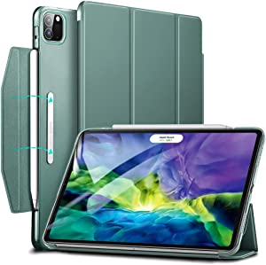 ESR Yippee Trifold Smart Case for iPad Pro 11 2020 & 2018, Lightweight Stand Case with Clasp, Auto Sleep/Wake [Supports Pencil 2 Wireless Charging], Hard Back Cover for iPad Pro 11, Forest Green