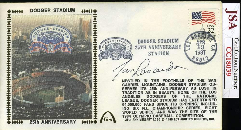 TOMMY LASORDA JSA COA Autograph 1987 FDC Hand Signed Authentic