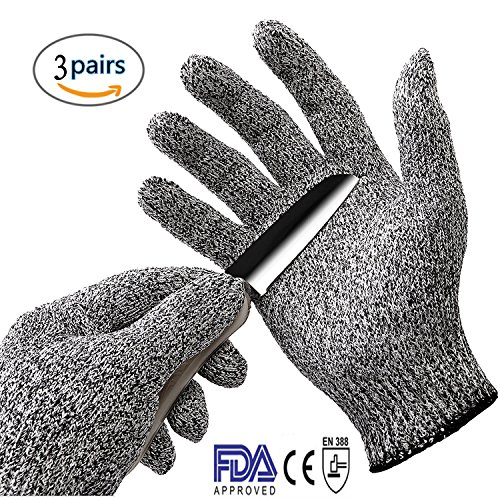 [Amaxom Cut Resistant Gloves - High Performance Level 5 Protection, Food Grade, EN388 Certified, Safty Gloves for Hand Protection and Yard-work, Kitchen,3] (Breaking Bad Pumpkin Stencils)