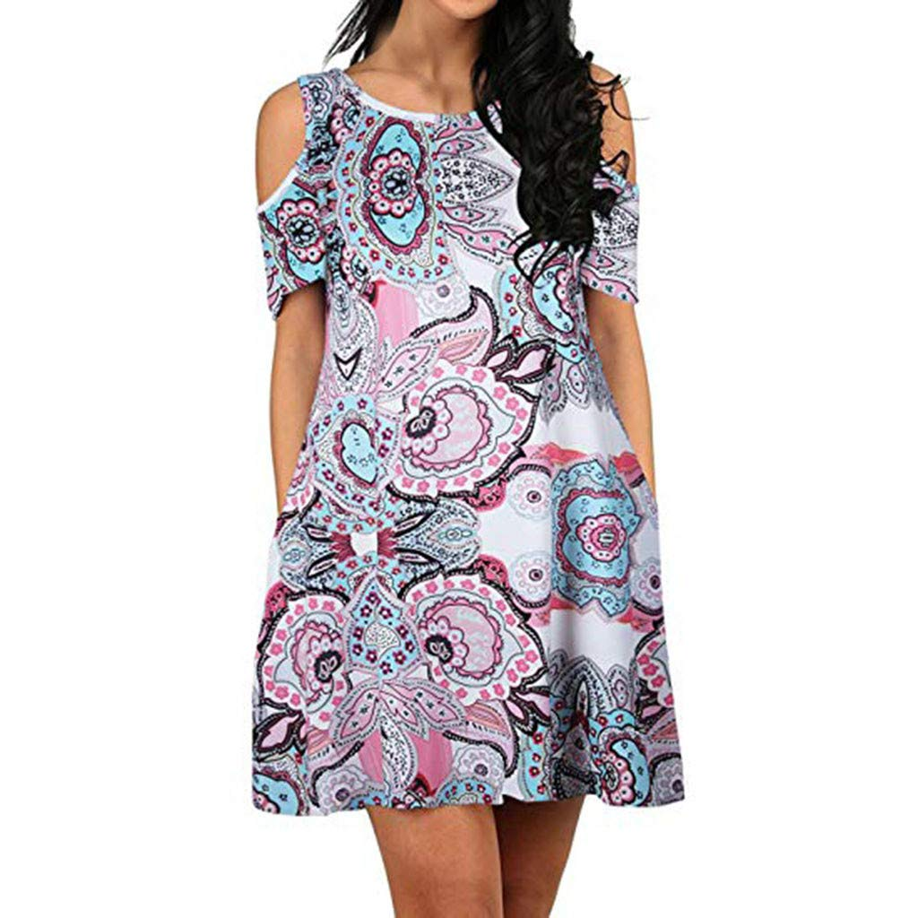 Women's Cold Shoulder Dress Floral Print Sundress T-Shirt Dress for Summer with Pockets Loose Casual Mini Dress
