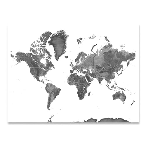 Printable Map Of The World Black And White.Amazon Com Map Of The World Black And White Landscape Art Print