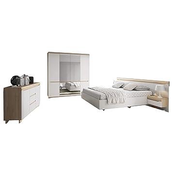 mb moebel moderne komplettprogramme szlafzimmer mobel bett kleiderschrank 2x nachttisch nachtkommode komode komplett nord set