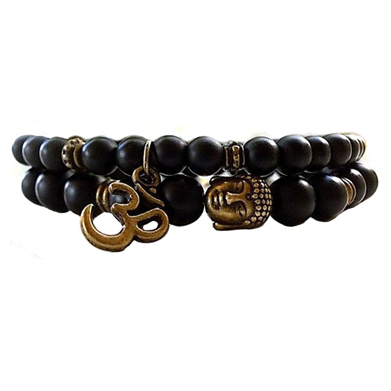 Yellow Chimes D'Vine Buddha Beads Collection Onyx Charm Bracelet for Men (Black)(YCFJBR-619DVINE-BR)
