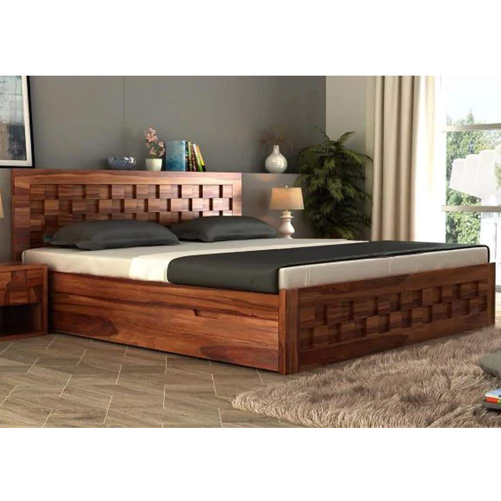 Furny Wallzone Solid Wood King Size Bed (Teak Polish)