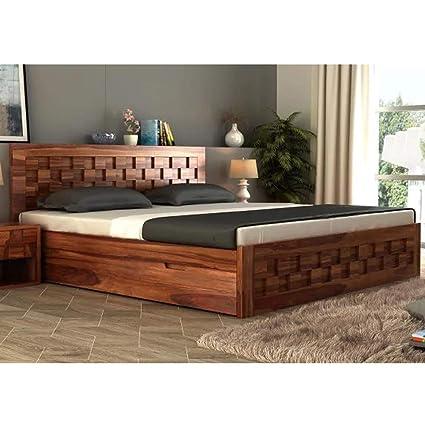 Furny Wallzone Teak Wood King Size Bed With Storage Original Teak