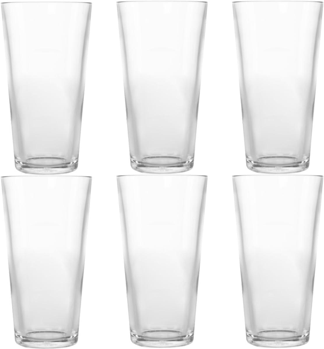 Symglass 6 Pack 16oz Plastic Pint Beer Glasses Thick Unbreakable Tritan Pubware Bar Amazon Co Uk Kitchen Home