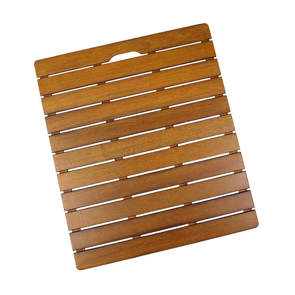 FRF バスルームマット- 浴室の浴室の床のシャワー室の滑り止めの木のペダル (色 : Yellow brown, サイズ さいず : 70x40cm) B07RCDVR98 Yellow brown 70x40cm