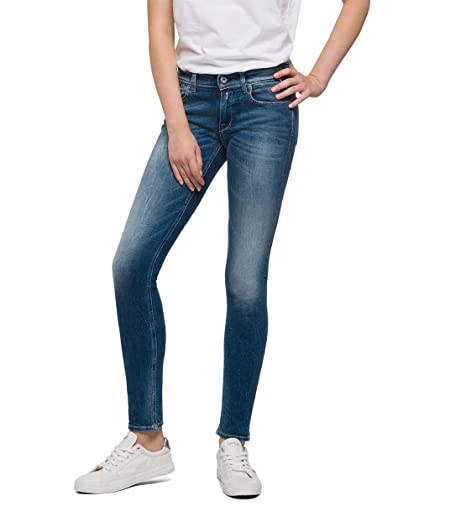 Replay Women's Luz Coin Zip Skinny Jeans, Blue (Denim 9), W24/