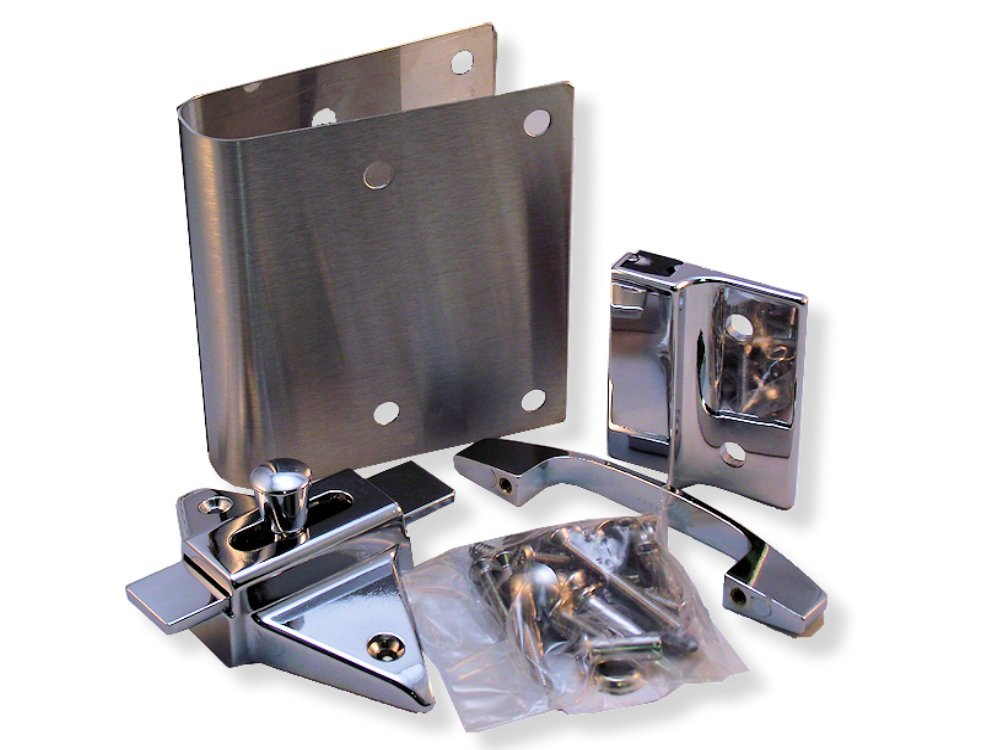 Fix It Latch Kit for Restroom Partitions - for 1'' Curved Edge Doors - Outswing w/Pull