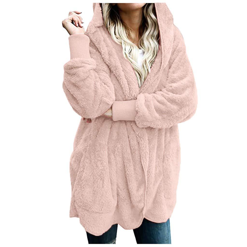〓COOlCCI〓Women's Fleece Jackets & Coats,Women Oversized Fuzzy Open Front Hooded Draped Pockets Cardigan Coat Outwear Hot Pink by COOlCCI_Womens Clothing