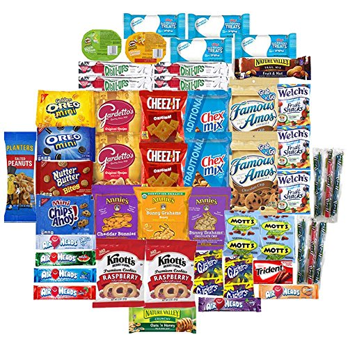 Munchie Mix - Care Package (50 Count) Snack Mix Box  Variety Assortment with Chips, Cookies and Candy  Gift Box with Sweet and Salty Treats for Lunches, College Students and Office Kid Parties