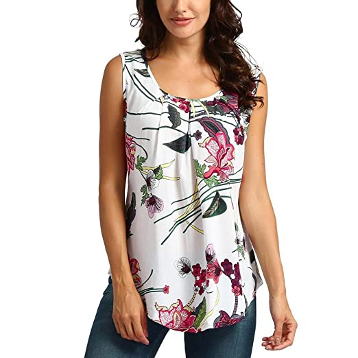 5c2729c9ed061f Image Unavailable. Image not available for. Color: iYYVV Women Printed  Floral Crop Top Short Sleeveless Tank Top T Shirt Blouse